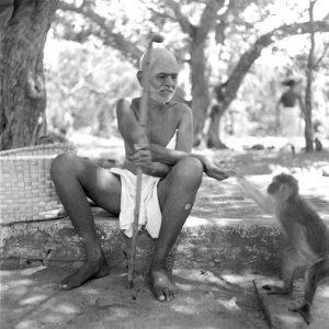Ramana Maharshi  with monkey